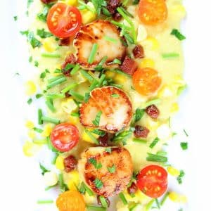 Close up of seared scallops on a bed of corn puree