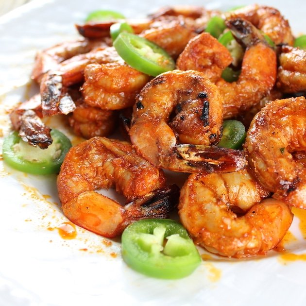 close up spicy grilled shrimp