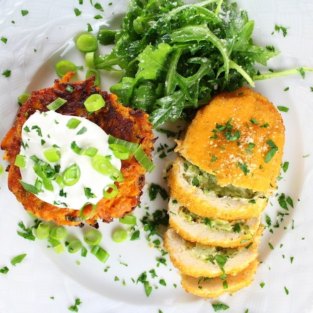 Close up Parmesan Sweet Potato Cakes With Broccoli Cheese Chicken