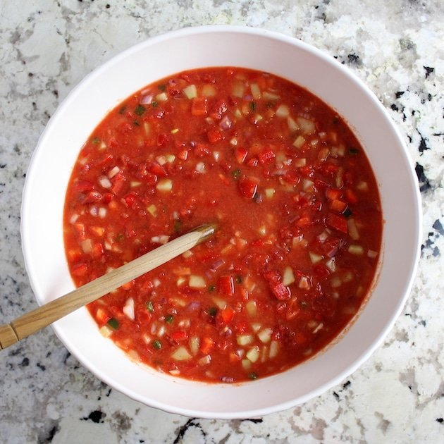 Classic Gazpacho with Spicy Grilled Shrimp