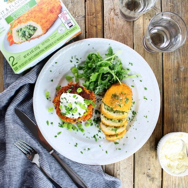 Parmesan Sweet Potato Cakes With Broccoli Cheese Chicken