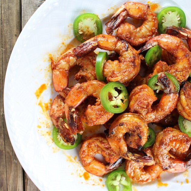 Bowl full of  Grilled Shrimp with jalapenos