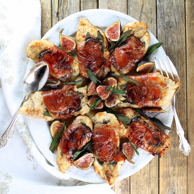 Platter of chicken fig saltimbocca (with sage wrapped in prosciutto)