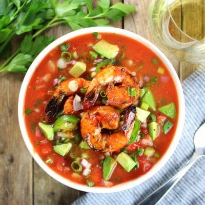 Classic Gazpacho with Spicy Grilled Shrimp Recipe