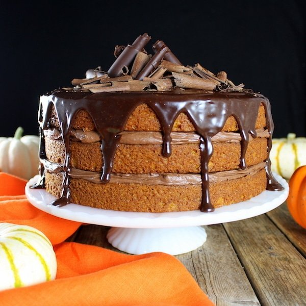 Thanksgiving Menu - Pumpkin Chocolate Ganache Cake