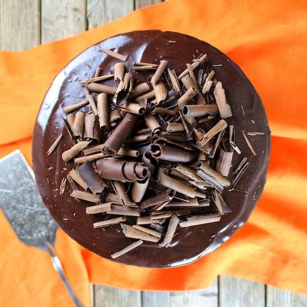 Pumpkin layer cake with chocolate ganache and shaved dark chocolate
