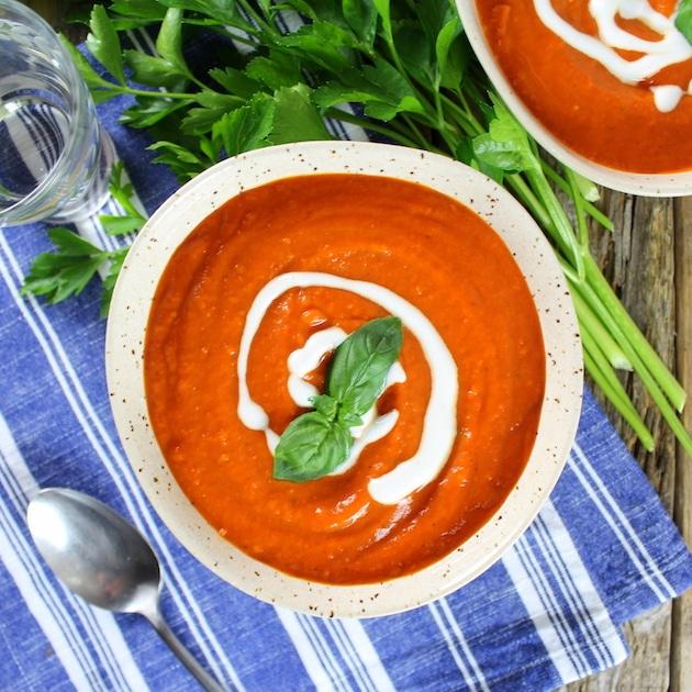 Smoky Harvest Tomato Soup with Mozzarella Crostini