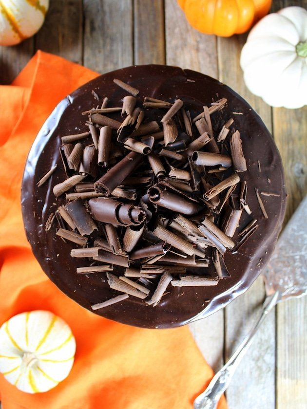Over top Pumpkin layer cake with chocolate ganache and shaved dark chocolate