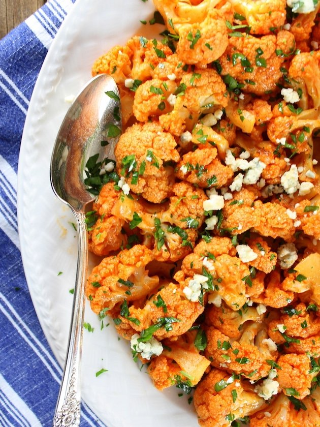 Partial platter of Buffalo Cauliflower