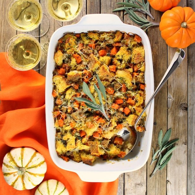 casserole dish with sausage bread stuffing