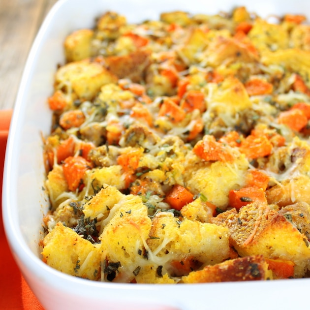 Baked Butternut Squash with Italian Sausage Stuffing