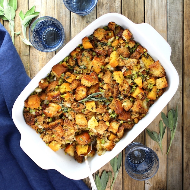Turkey Stuffing cooked in casserole dish
