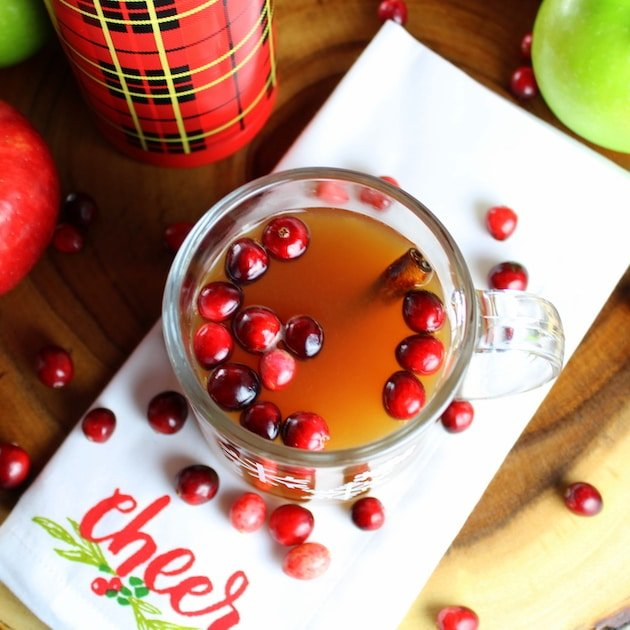 Warm Cranberry Apple Hard Cider with fresh cranberries