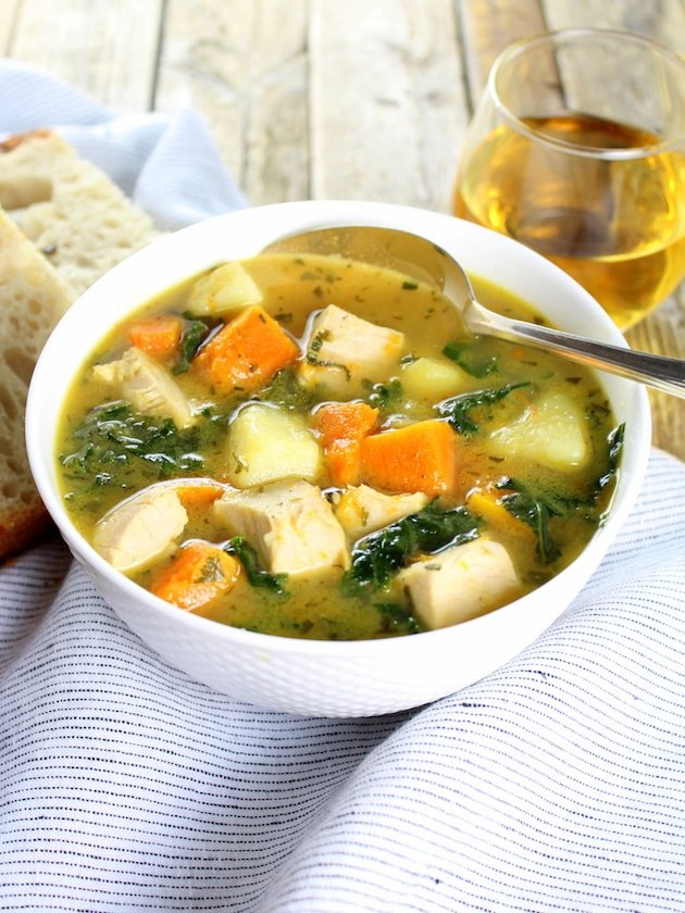 You'll love this healthy, easy Kale and Butternut Squash Turkey Soup .  A hearty reprieve from all that decadent holiday eating!  #kale #turkey #butternut #soup #tasteandsee || https://tasteandsee.com ||