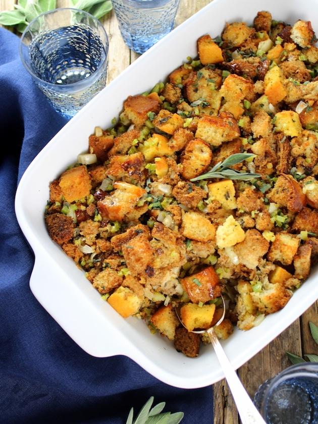 Turkey Stuffing closeup in casserole dish
