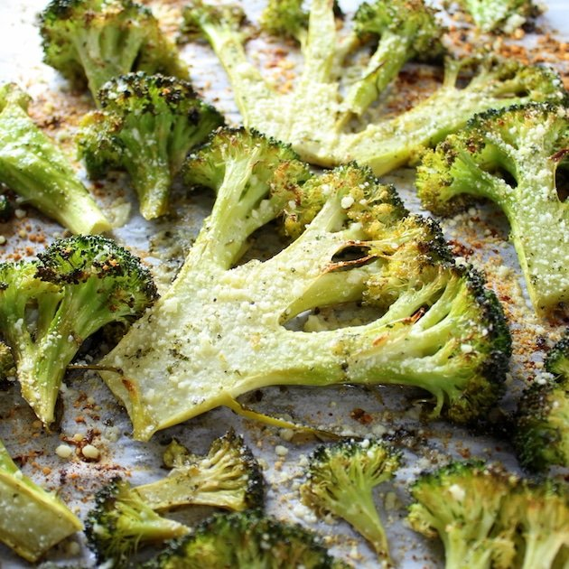 A close up of Roasted broccoli