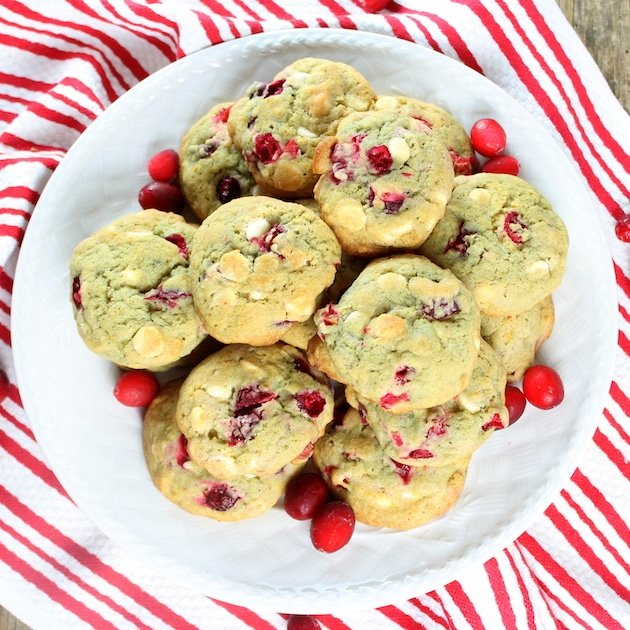 Cranberry Orange Creamsicle Cookies on a plate with red and white cloth