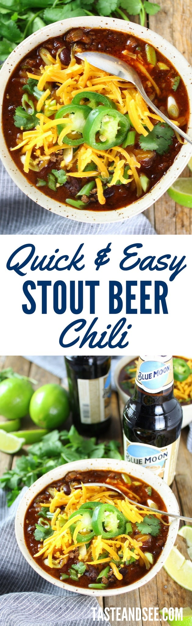 Stout Beer Chili - rich & hearty, a touch of sweet.  Stout beer, kidney beans, ground beef, & molasses. #crockpot #comfortfood #chili #guinness #tasteandsee  ||   https://tasteandsee.com ||