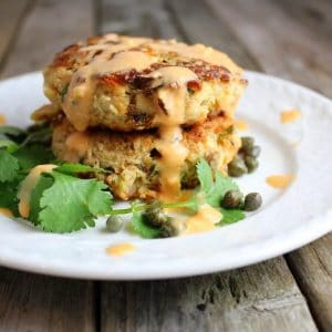 tuna cakes stacked