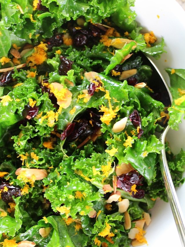 Closeup Kale Orange Cranberry Salad