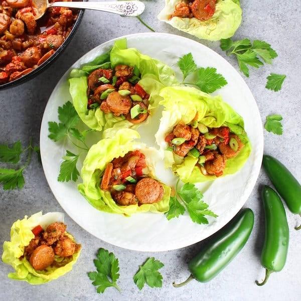 Andouille Sausage and Cajun Shrimp Lettuce Wraps