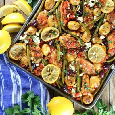 Greek Chicken Sheet Pan Dinner with Green Beans and Feta Recipe