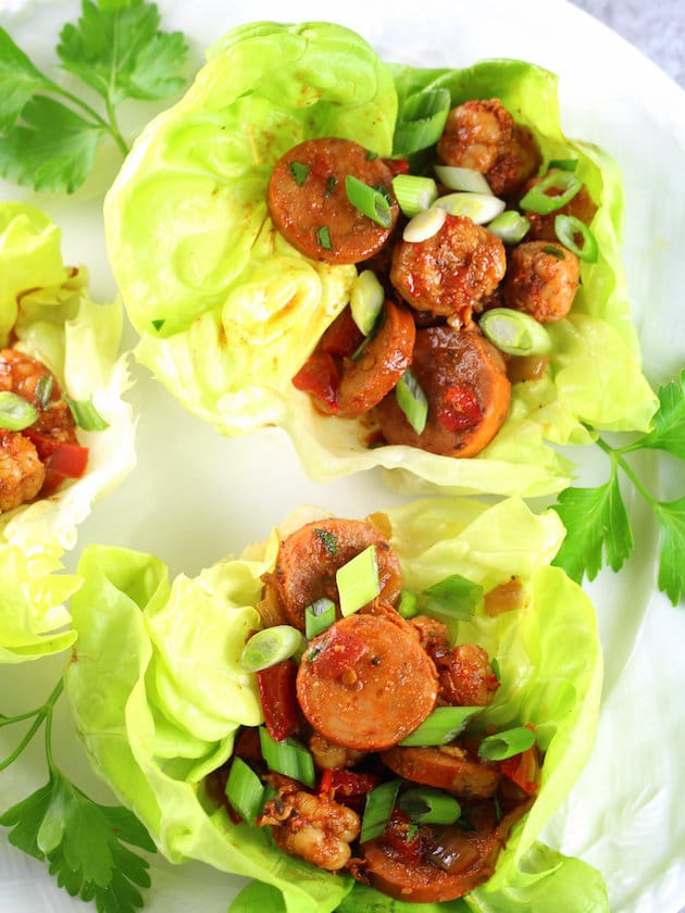 Close up of Andouille Sausage and Cajun Shrimp Lettuce Wraps