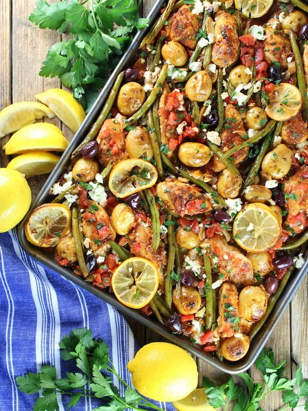 Greek Chicken Sheet Pan Dinner with Green Beans And Feta Image Healthy Easy Weeknight Dinner