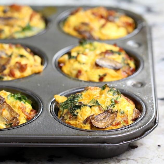 Partial Pan eye level Healthy Kale Egg Breakfast Cups