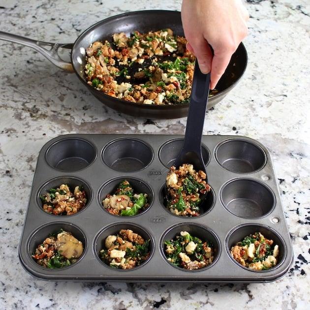 adding ingredients to muffin tin