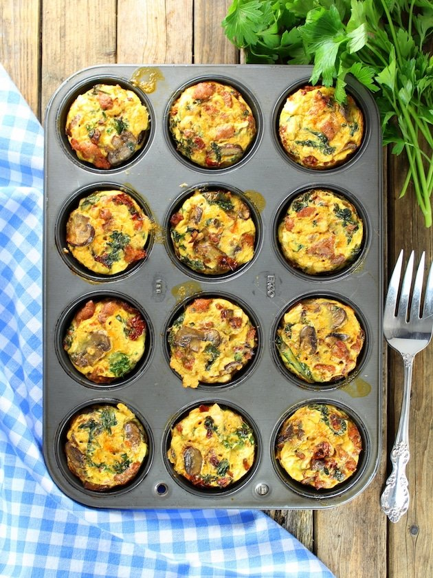 Healthy Kale Egg Breakfast Cups in a muffin tin