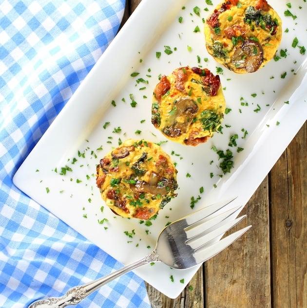 Healthy Kale Egg Breakfast Cups on a platter