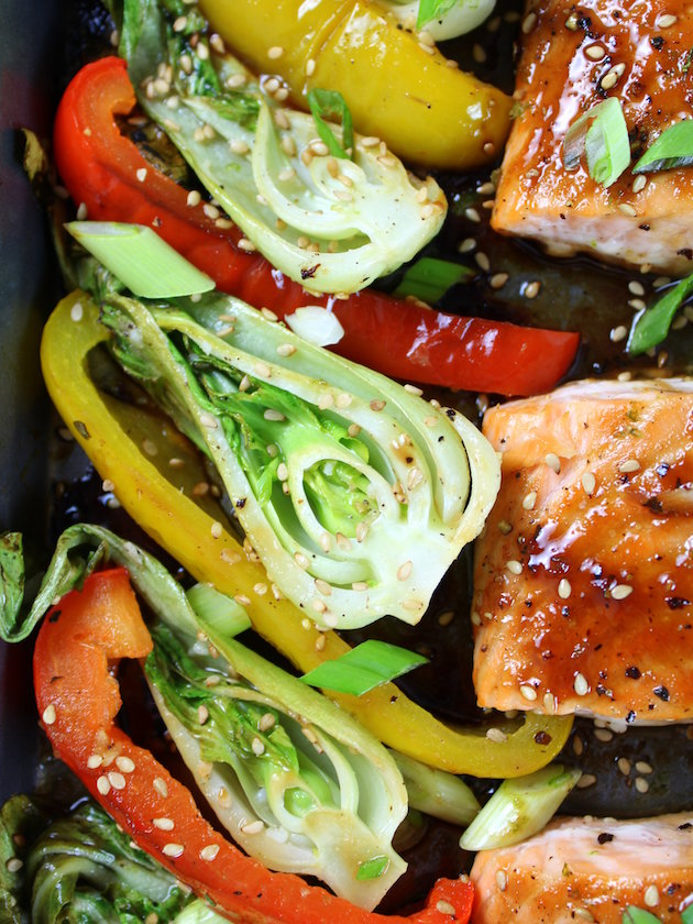 Close up of Honey-Lime Roasted Sheet Pan Salmon and Vegetables