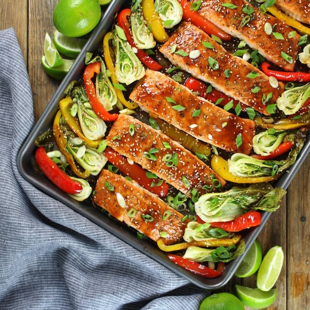 Honey Lime Roasted Sheet Pan Salmon And Vegetables Image easy weeknight dinner