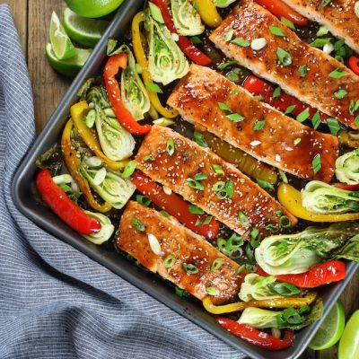 Honey-Lime Roasted Sheet Pan Salmon and Vegetables Recipe