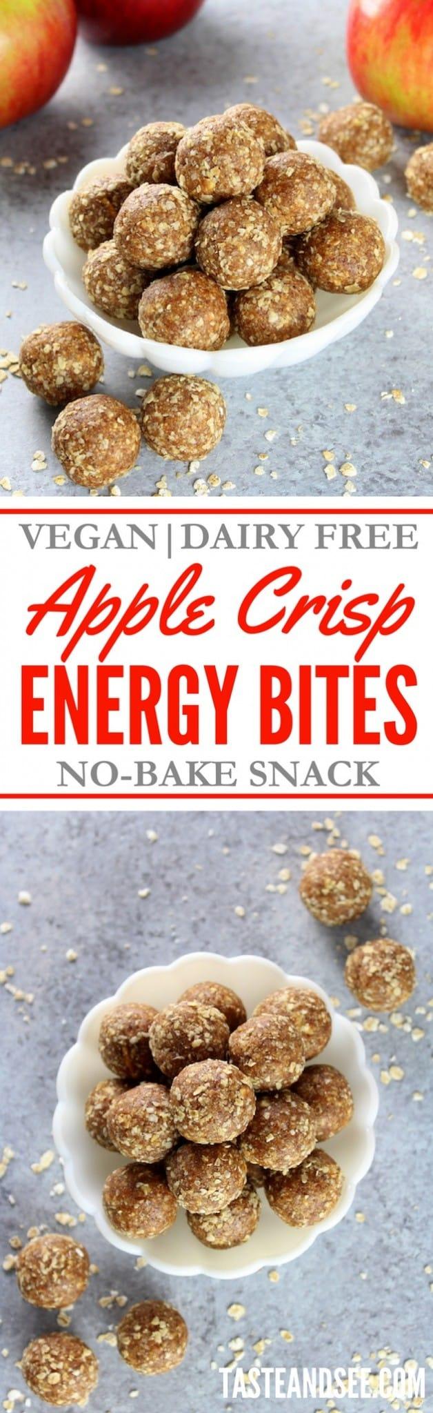 Apple Crisp Energy Bites!  No Bake | 5-Minute|  https://tasteandsee.com