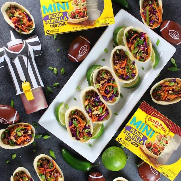 Korean Mini Taco Boats with Spicy Asian Slaw