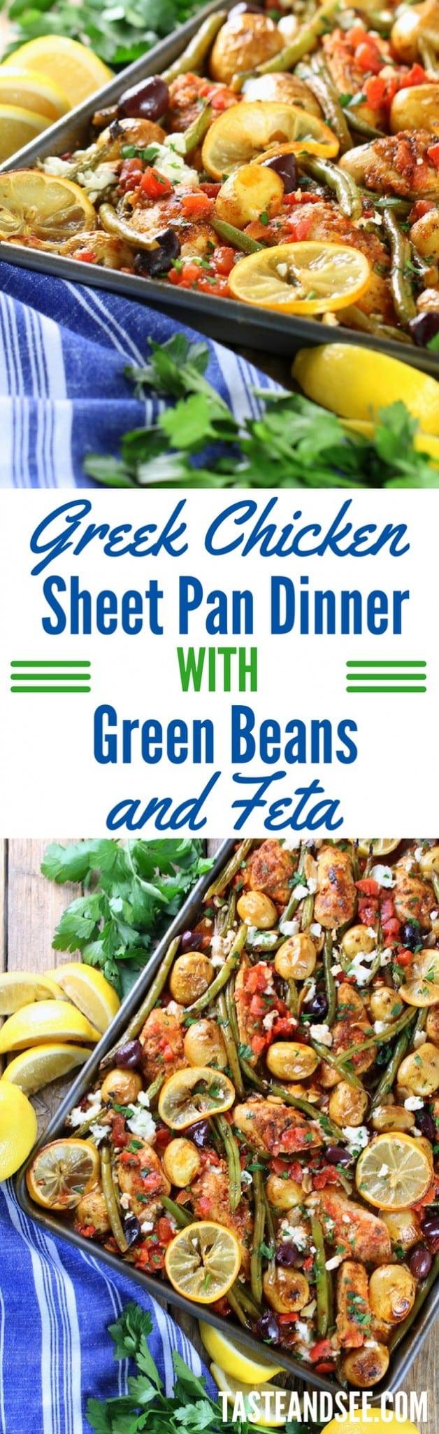 Greek Chicken Sheet Pan Dinner with Green Beans and Feta!  Mediterranean | Gluten-Free | Easy!  #dinner #sheetpan #greek #recipes #mealprep #healthy #tasteandsee  || https://tasteandsee.com ||