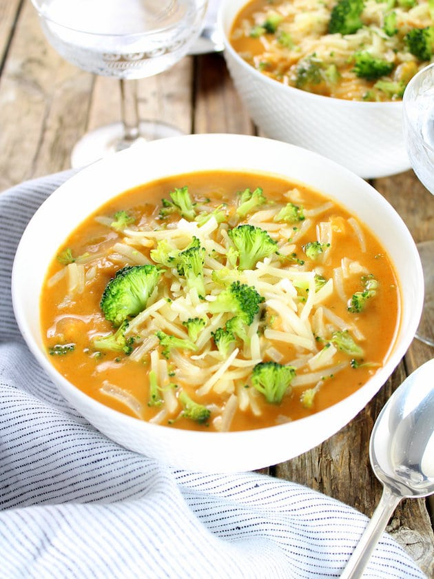 Smoky Cheesy Cauliflower and Broccoli Soup