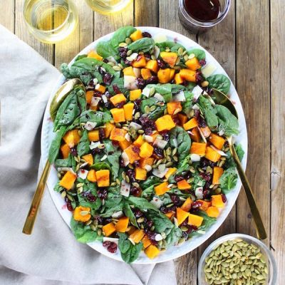 Roasted Butternut Squash, Cranberry and Spinach Salad with a Cran-Cabernet Dressing Recipe