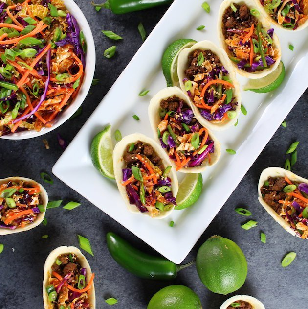 Korean Mini Taco Boats with Spicy Asian Slaw