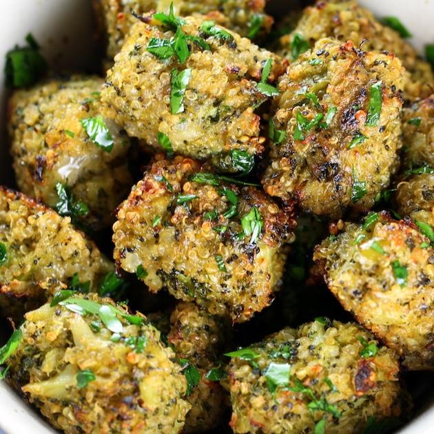 Baked Veggie Quinoa Tots with Barber Foods Chicken Cordon Bleu