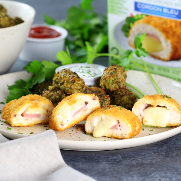 Baked Veggie Quinoa Tots with Barber Foods Chicken Cordon Bleu