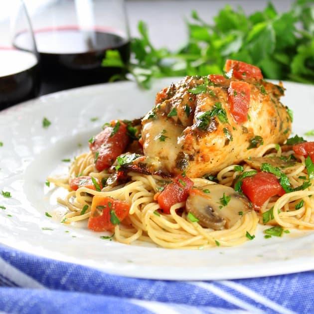Italian Chicken Canneloni on angel hair pasta