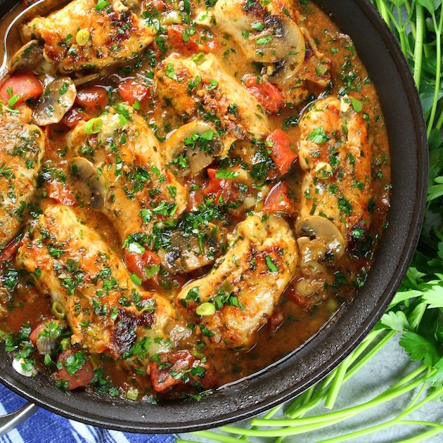 """Cooked Italian Chicken \""""Cannelloni\"""" in saute pan"""