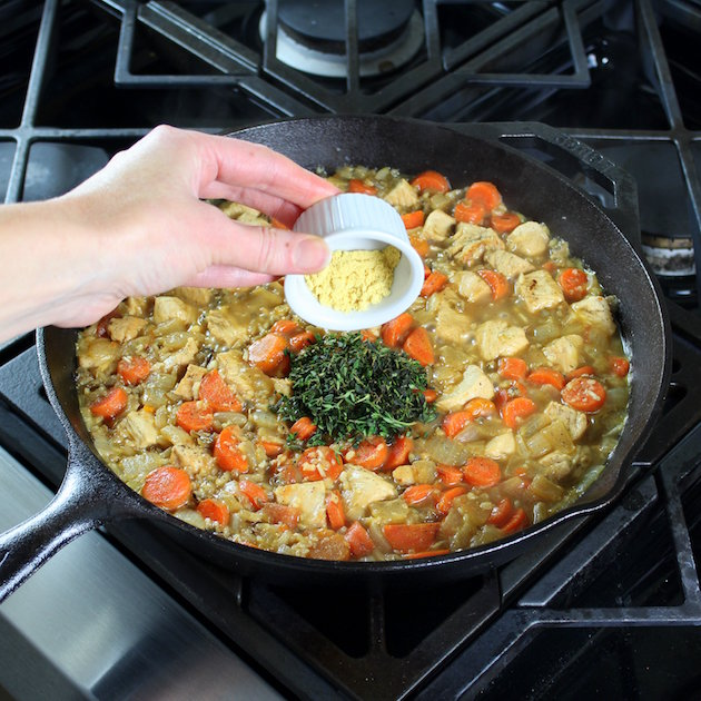 Adding dry mustard to chicken rice skillet