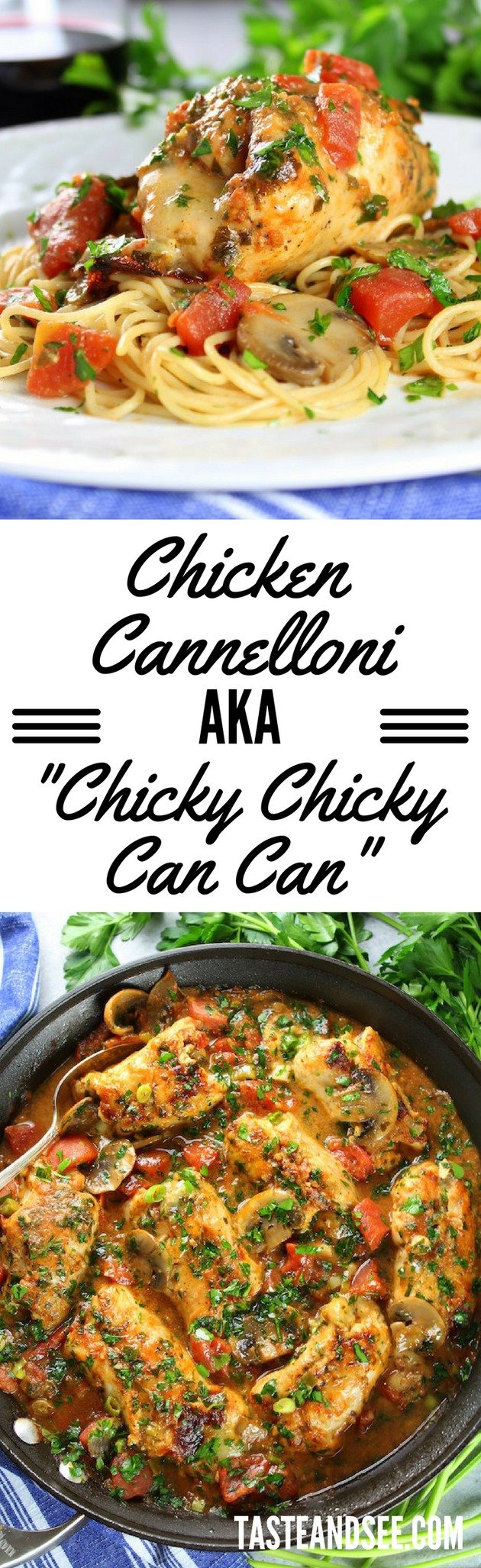 Chicken Cannelloni is an unbelievably easy & delicious Italian chicken weeknight dinner. #chicken #30Minute #Dinner #tasteandsee || https://tasteandsee.com ||