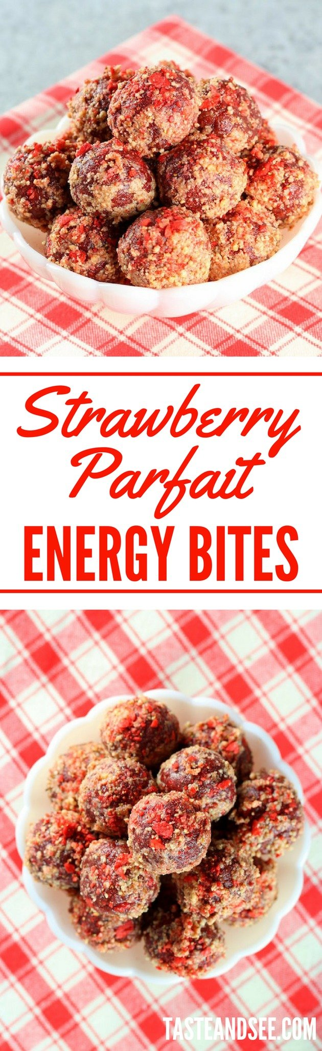 Strawberry Parfait Energy Bites are a perfect healthy snack for all ages!  #nobake #glutenfree #mealprep #tasteandsee || https://tasteandsee.com ||