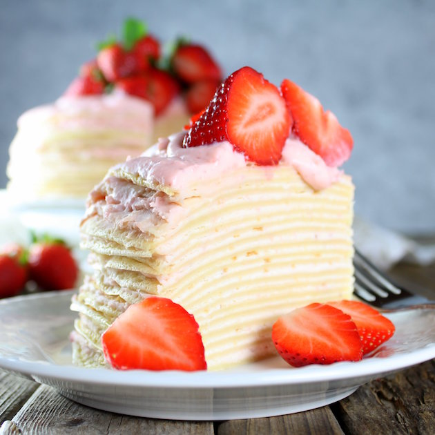 Strawberry Lemon Creme Crepe Cake