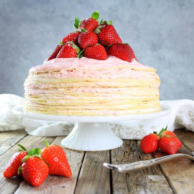 Strawberry Lemon Creme Crepe Cake Recipe